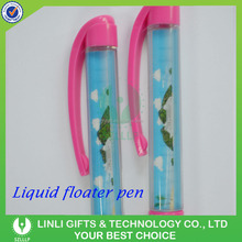 Cheap Promotional Liquid Oil Ball Pen with 2D Floater