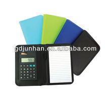 leather 8 digital calculators notebook with pen