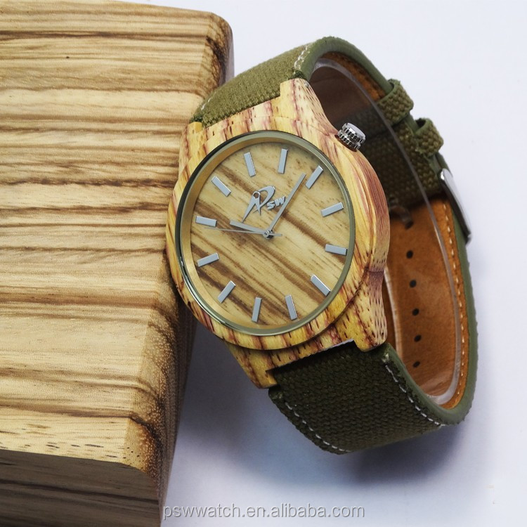 New trend stained bamboo watch with canvas strap