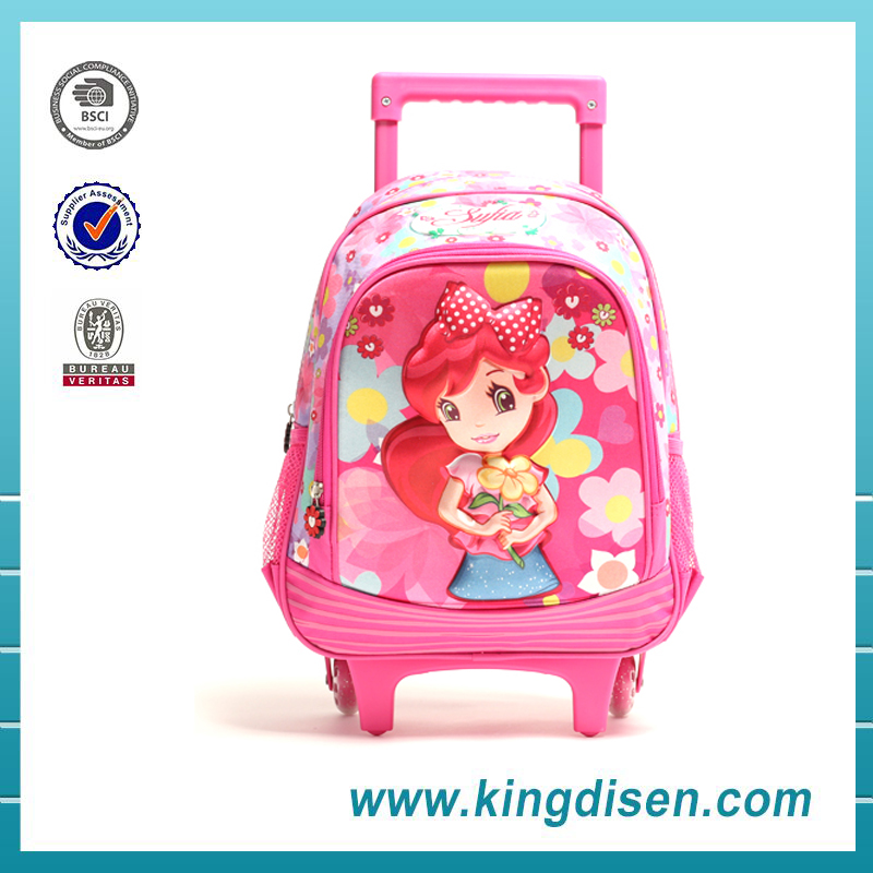 Latest design EVA beauty polyester kids trolley school bag for girls