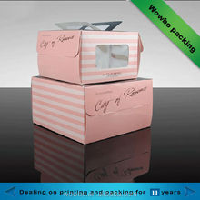 Pink cardboard decorative cake boxes with handle