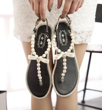 High quality Lady shoes bowknot flat shoes footwear women fashion pearl thong sandal