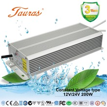 SAA BIS CE RoHS certificated 12V/24V 200W constant voltage waterproof LED power supply driver for led strip lighting