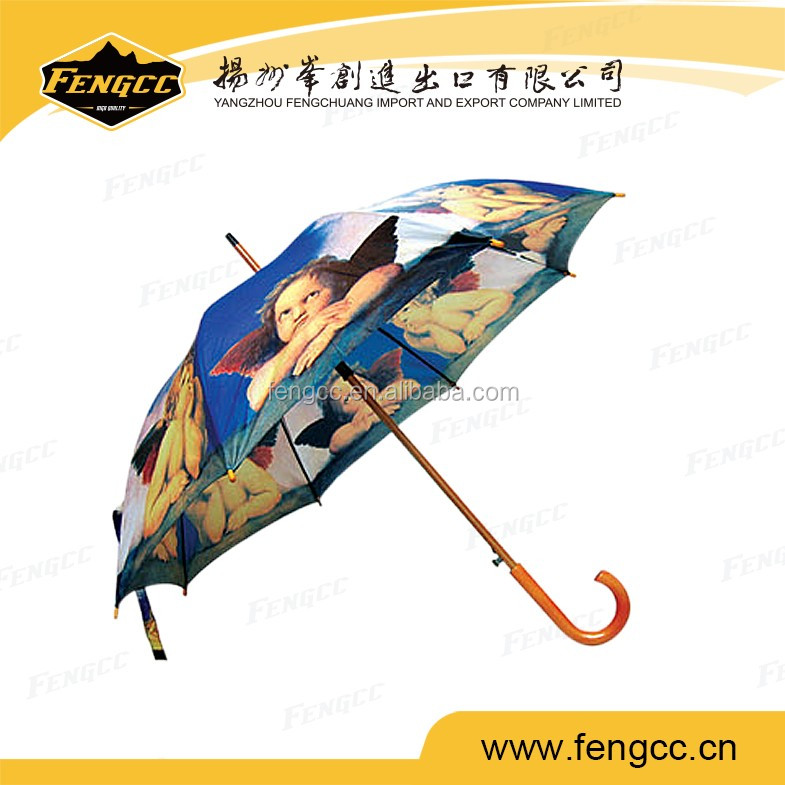 Angel full print kids umbrella in straight style for sun and rain weather