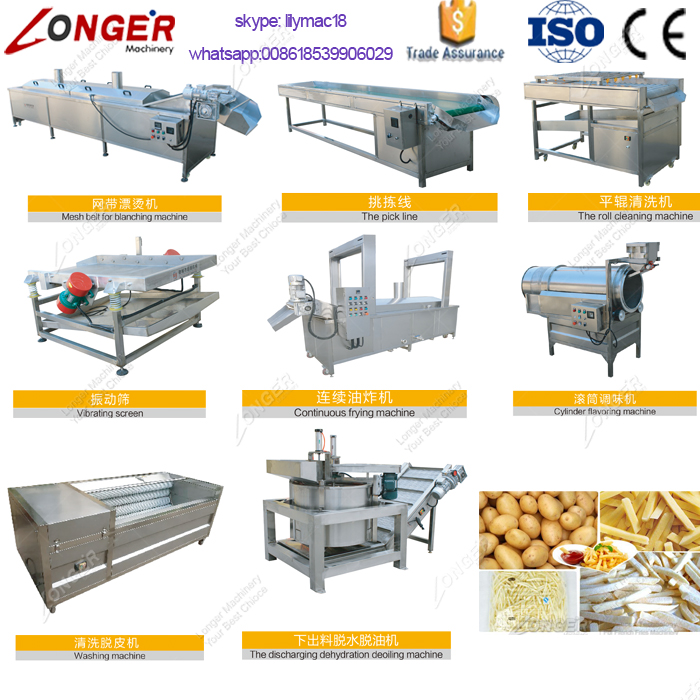 Fresh Potato Chips French Fries Making Machine Production Line Price