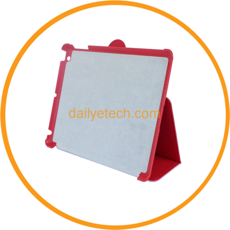 for iPad Cases and Covers PU Leather Hard Case Red from Dailyetech