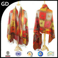 GDK0089 2015 fashionable temperament sale promotion checkered long handmade wool lady tassel scarf