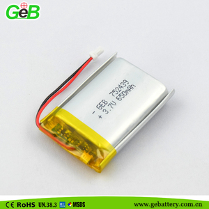 Rechargeable lipo battery 752439 3.7v 650mah with PCM for electronics