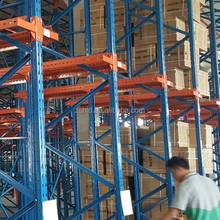 Manufacturing Extrusion construction material powder coating metal <strong>shelf</strong> Q235 post beam heavy duty storage rack pallet racking