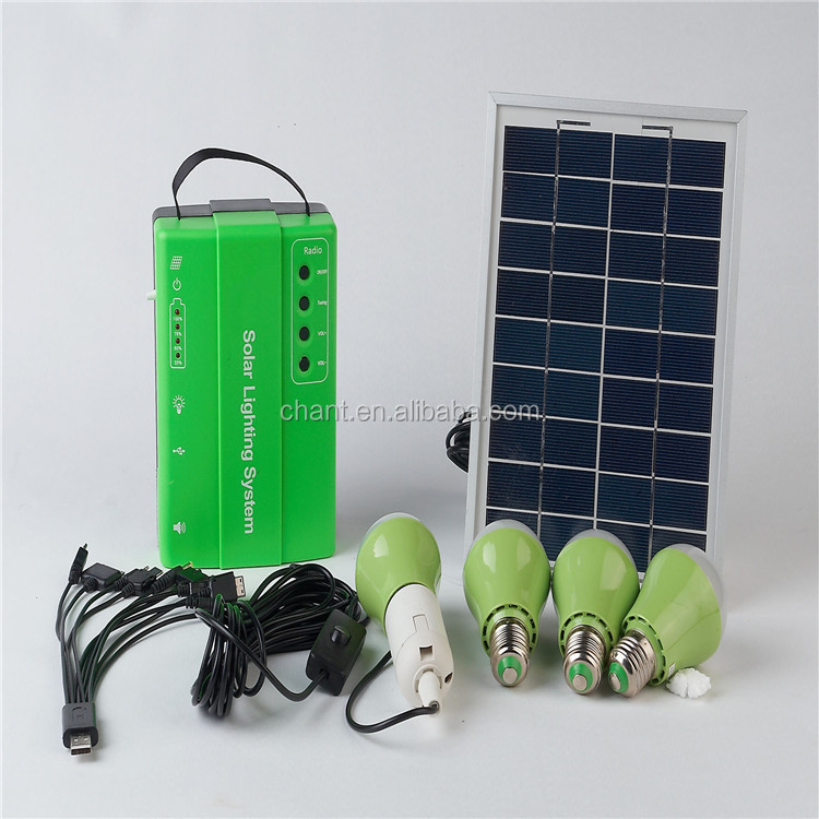 2016 new arrival 10 w solar panel led bulbs home USB solar lighting system with radio function