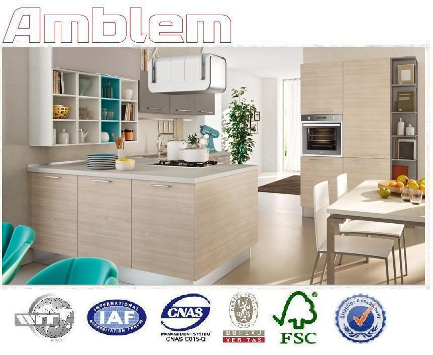 2016 modern light color wood grain kitchen cabinets