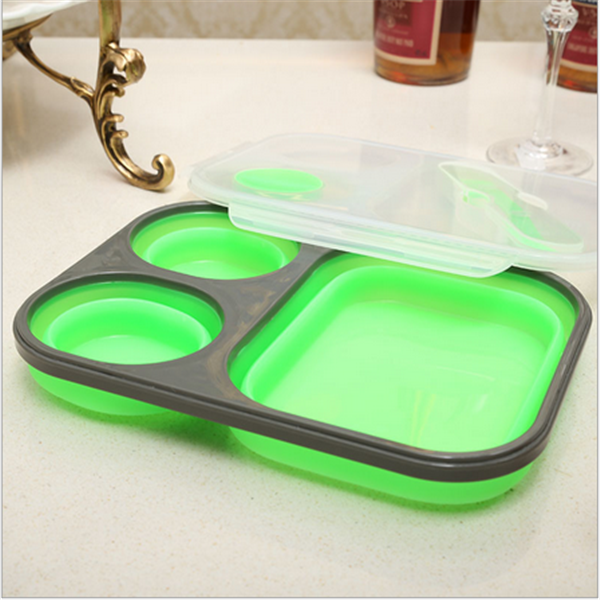 creative tableware students portable lunch box/sofy foldable silicone bento box Shenzhen manufacturer
