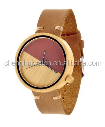 cheap wooden case and dial leather strap fashion wood watch