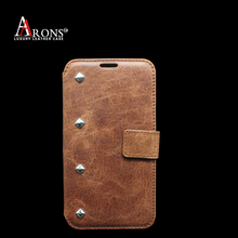 Vintage wallet opening leather case with rivets for samsung s5 case