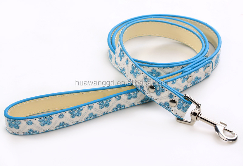 Personalized Shiny glitter dog leash with flower pattern for small and medium pet
