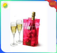 Red colored fancy wine plastic pvc chill bags