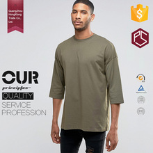 Hongxiong OEM Latest Style 180 Grams Three Quarter Length Sleeves Cotton Round Neck Printing Elongated T Shirt Mens