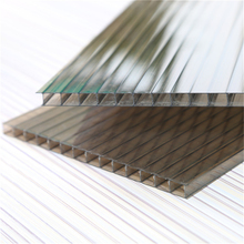 4mm 100% Virgin Grade A PC Resin 50 Micron UV Coating Polycarbonate Twin Wall Hollow SheetsCheap Price Roofing Panels Clear