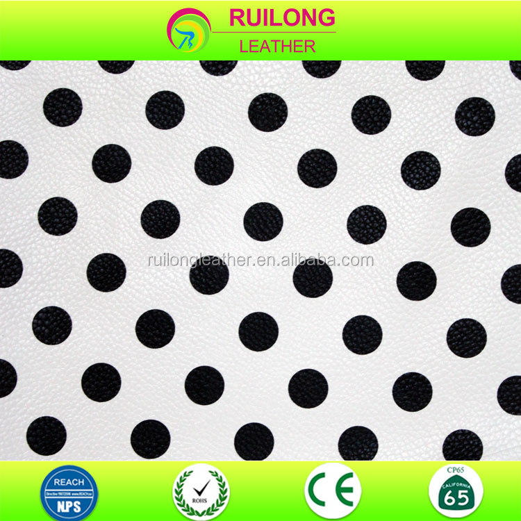 Polka dots printed pu leather for Japan brand wallet black and white leather