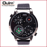 Oulm fashion high quality Genuine Leather Band 3M Waterproof Double Time Zone +Compass+Thermometer Men Watch HP3707