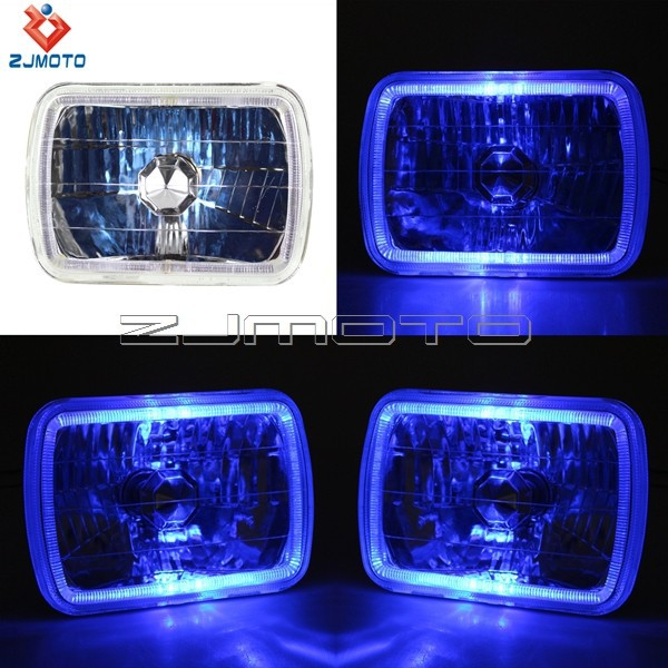 100% Brand New H6054 H4 Super White light 55 - WT 7*6 White Halo Black Projector H4 Super Blue light 56 - WT Square Headlights
