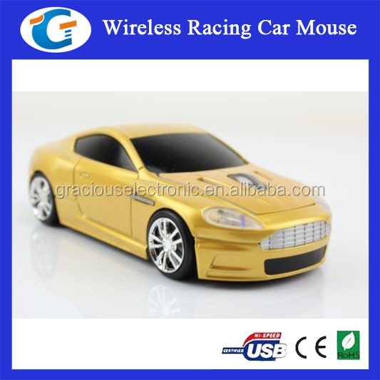 2.4GHz wireless mouse with led light in racing car shaped