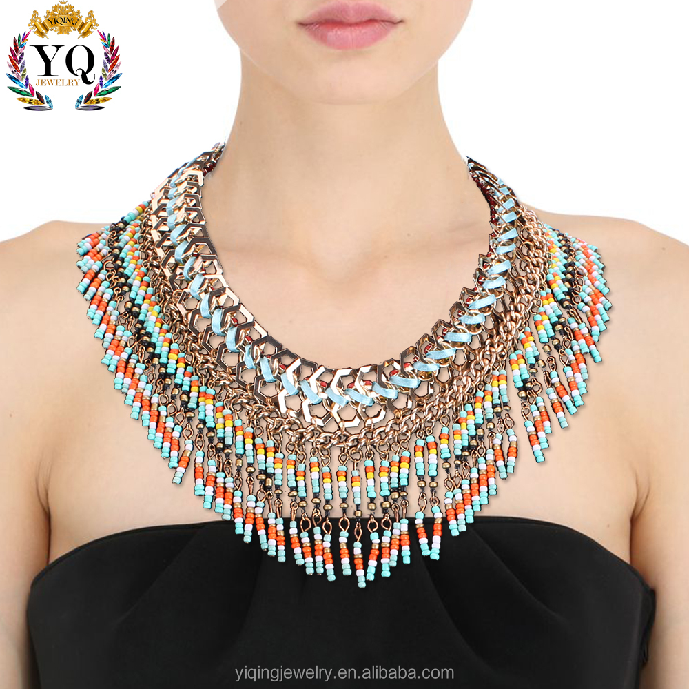 NYQ-00264 2016 elegant colorful beads acrylic bib statement tassel bohemian necklace