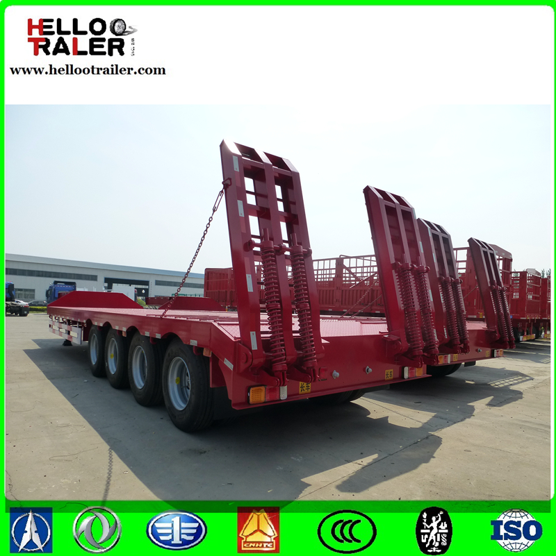 Long dimensions 4 axle 80 ton low bed trailer