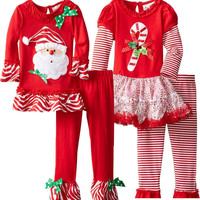 2015 new childrens boutique girls christmas outfit
