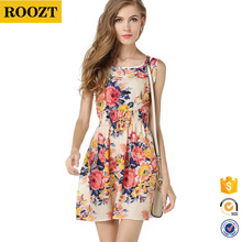 Wholesale 2016 New Fashion Sleeveless Chiffon Printed Mini Summer Women Dresses
