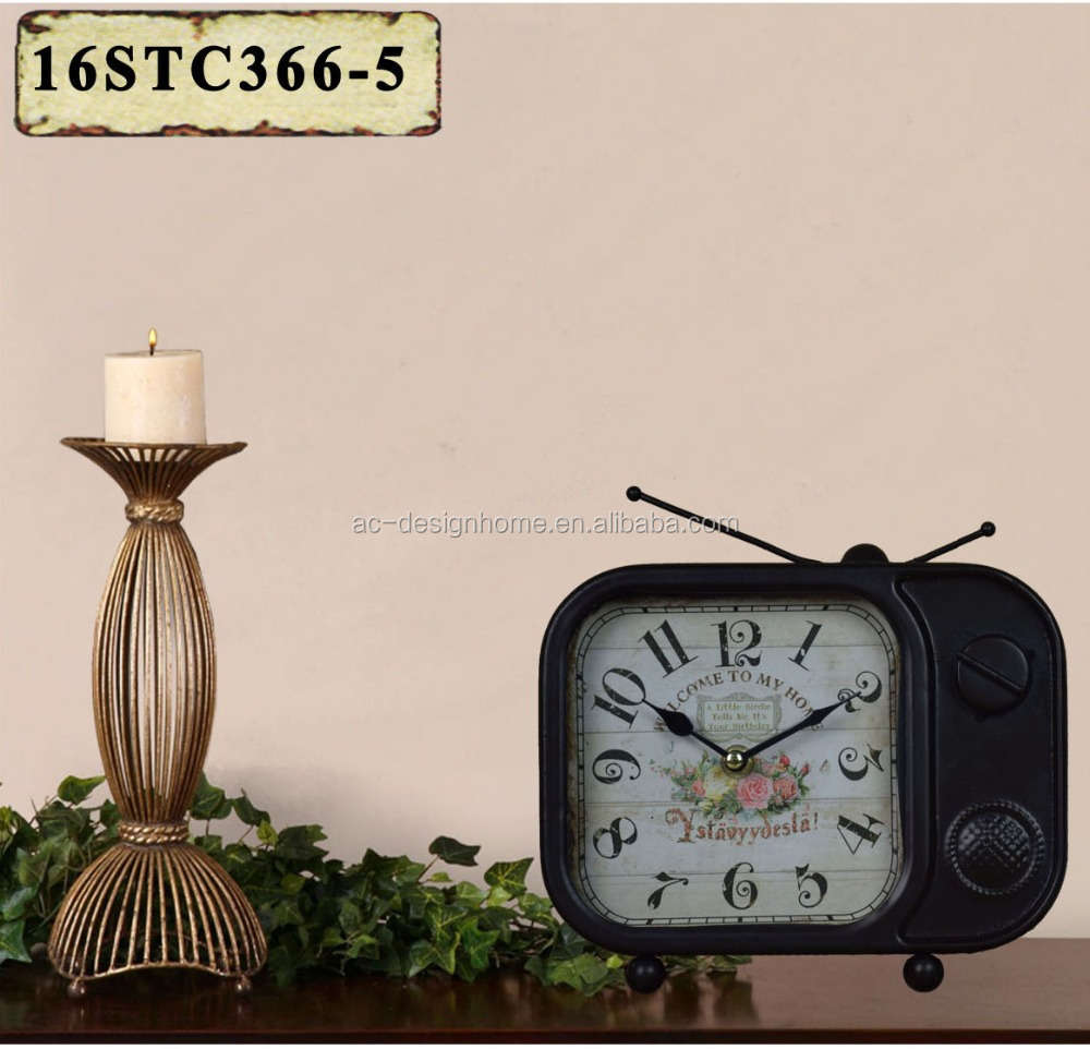 VINTAGE ANTIQUE DECORATIVE BLACK METAL TV SHAPE TABLE TOP CLOCK