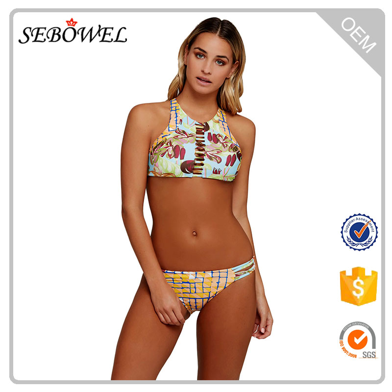 Vibrant Print Strappy Crop Top 2pcs Beautiful Women Sexy Bathing Suit