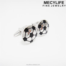 MECY LIFE cheap wholesale simple design soccer black and white enamel cufflinks