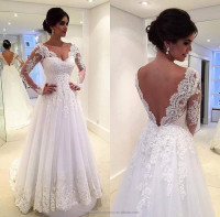 Vestidos De Novia Sweetheart Lace Backless A Line Tulle White Wedding Dress Long Sleeve Bridal Dresses CWFw2237