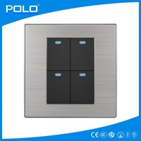 2015 hot new tact stainless brushed PC material made in chian polo alibaba 4 gang 1 way switch