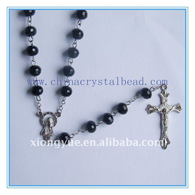 wholesale black crystal flat bead necklace