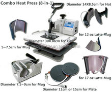 Hot selling Sublimation Multifunctional combo heat press machine 8 in 1