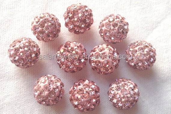 Wholesale 8MM/10MM/12MM/14MM Pink Shamballa Rhinestone Disco Pave Clay Ball Beads