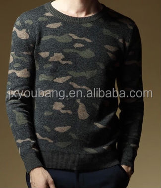 Men100%Wool winter Knitted Round-neck Jacquard Camouflage Sweater T-shirt