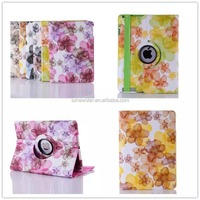 SHOCK ABSORPTION ROTATING STAND Full Body Hybrid Protective PU LEATHER Case Cover For ipad4/5/6/mini flower style