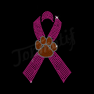 Pink Ribbon with pawprint symbol wholesale iron-on rhinestone transfer