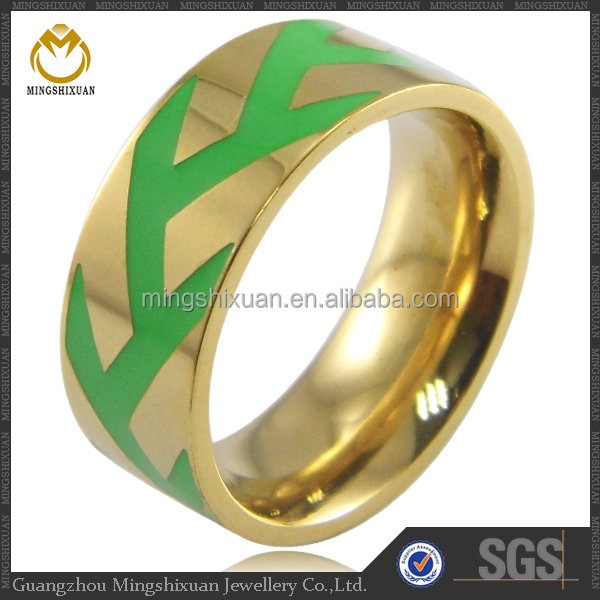 Trendy design lady's enamel ring wholesale gold jewellery