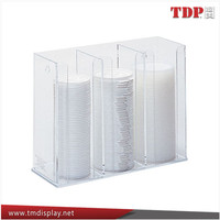 3 compartment acrylic cup lid dispenser