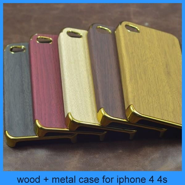wholesale veneer gluing wood grain mobile phone case for iphone 4 back cover