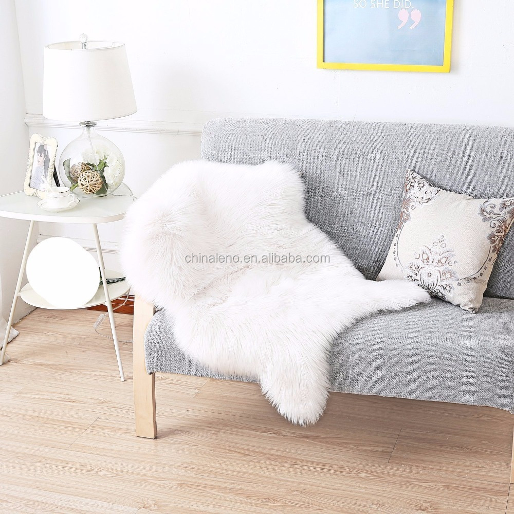Faux Fur Rug White Shag Fuzzy Fluffy Sheepskin Kids Carpet with Super Fluffy Thick,Used As An Area Rug in Bedroom,Living Room