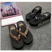 2016 New Style Summer High-Grade Ladies Flip Flops High-Heeled Thick-Soled Leopard Sandals Slippers