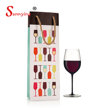 Factory Fancy Design Luxury Colored Paper Wine Bottle Bag