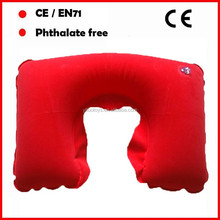 Highly quality Phthalate free PVC flocked Customized Color personalized travel neck pillow/inflatable pillow