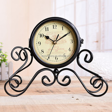 Antique Doube Sided Metal Desk Clock Creative Design Table Clock