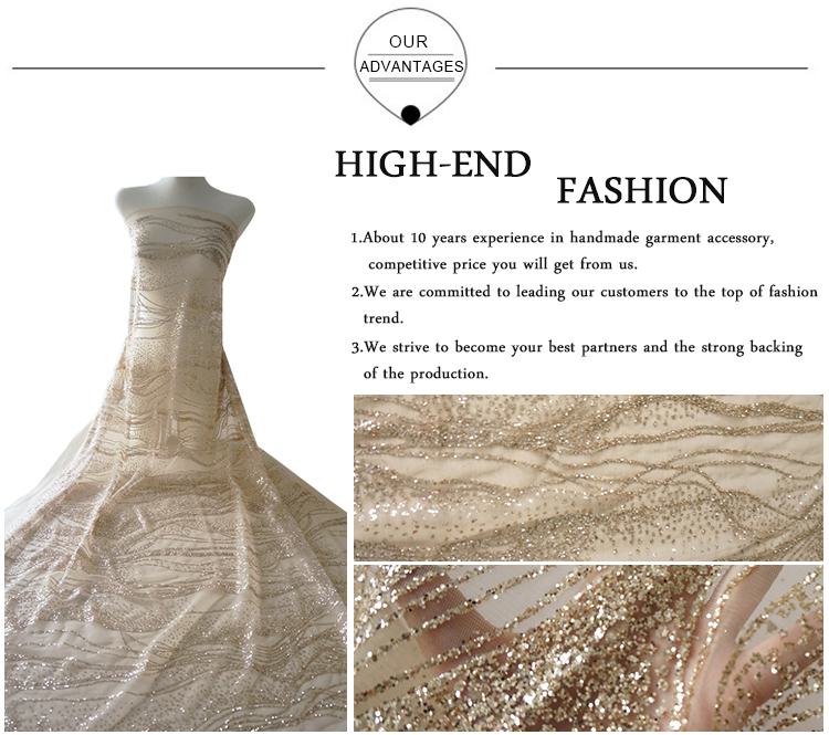 2020 new elegant glitter tulle lace fabric for garment fashion show dress